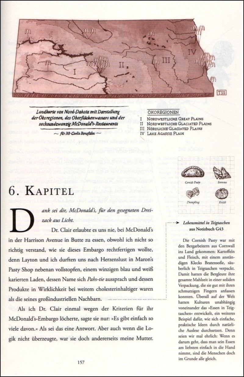 """Beispielseite aus Reif Larsen """"Die Karte meiner Träume"""""""