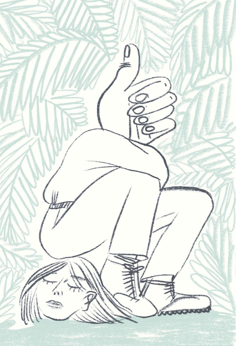 """Illustration: Steinkellner / Gusella """"Papierklavier: Daumen"""""""