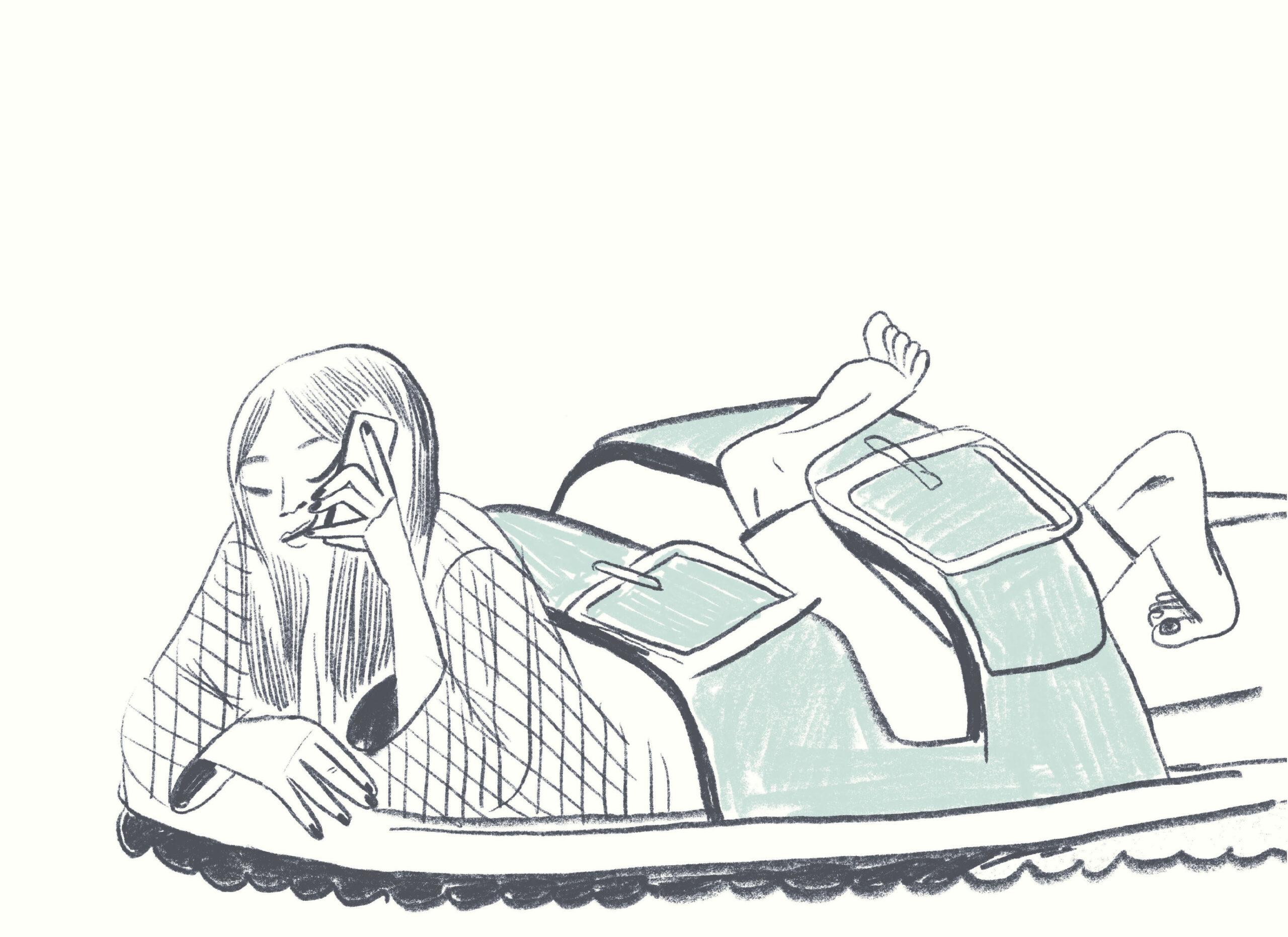 """Illustration: Steinkellner / Gusella """"Papierklavier: Telefonieren"""""""